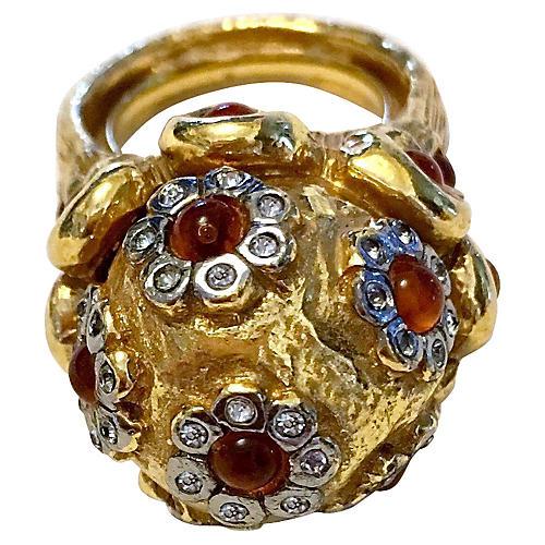 K.J.L. Jeweled Dome Ring