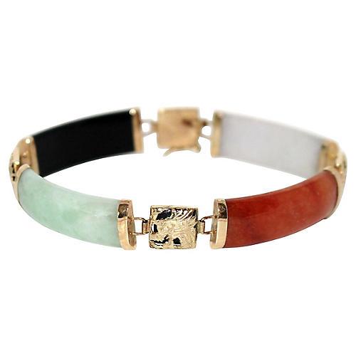 14K Gold & Jade Dragon Link Bracelet