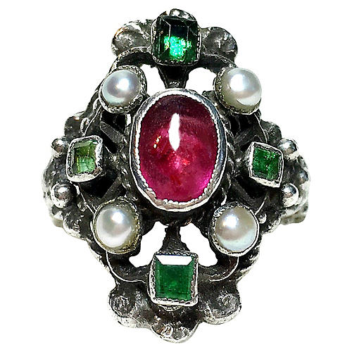 Austro-Hungarian Gemstone Ring, C.1880