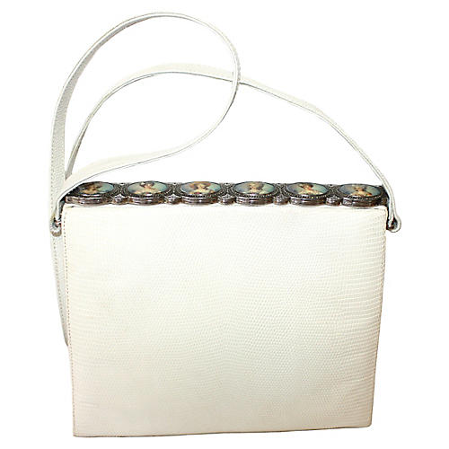 1960s White Lizard Purse