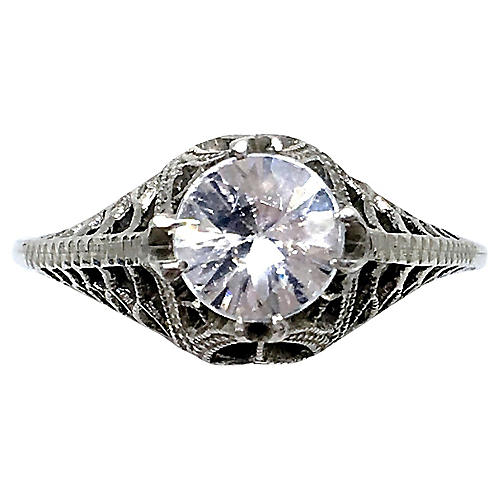 1920s Sterling & Natural Zircon Ring