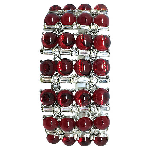 Red Glass Cabochon Bracelet