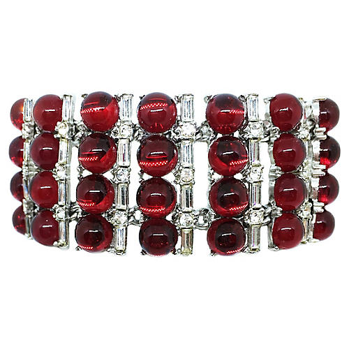 Red Glass Cabochon Cocktail Bracelet