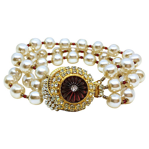 deLillo Jeweled Faux-Pearl Bracelet