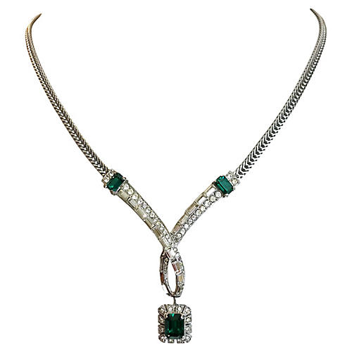 Emerald Green Drop Cocktail Necklace
