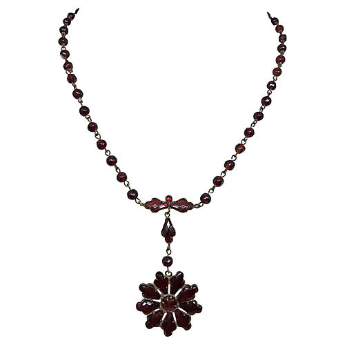 Czech Vauxhall Glass Necklace, C. 1920