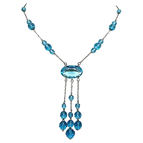 Aqua Faceted Glass Necklace, C. 1920