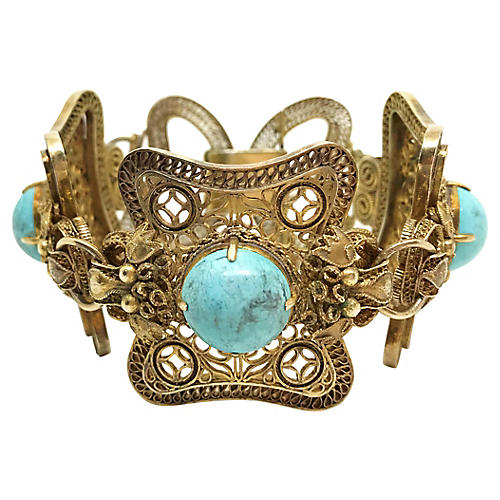 Chinese Gold and Turquoise Bracelet