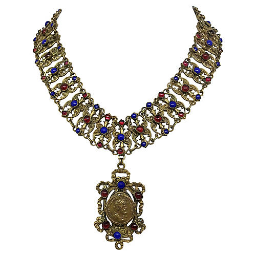 1930s Brass & Glass Cabochon Necklace