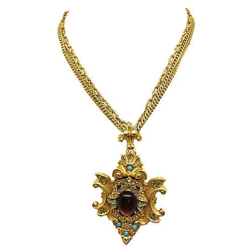 Ornate Jeweled Medallian Necklace