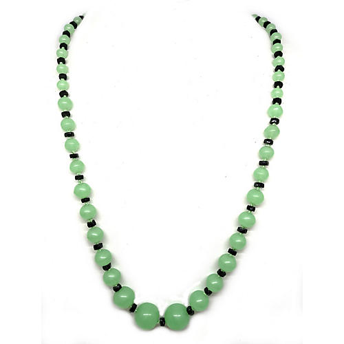 Art Deco Green & Black Glass Necklace