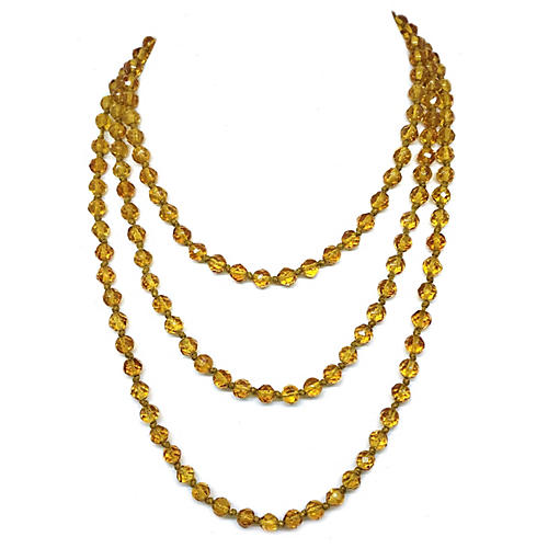 1920s Faceted Topaz Glass Long Necklace