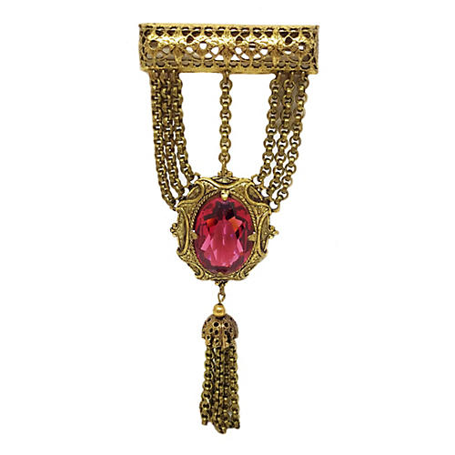 Jeweled Goldtone Medal-Style Brooch