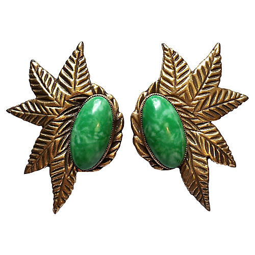 1930s Green Cabochon Dress Clips, S/2