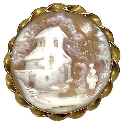 Antique Scenic Cameo Brooch