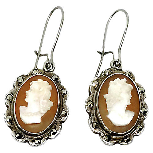 Silver Cameo Earrings