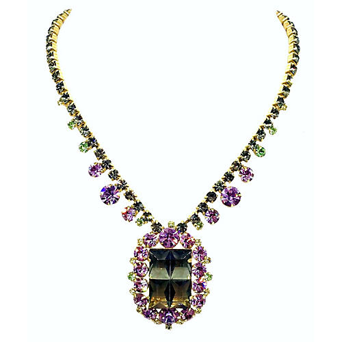 Purple & Green Faceted Glass Necklace