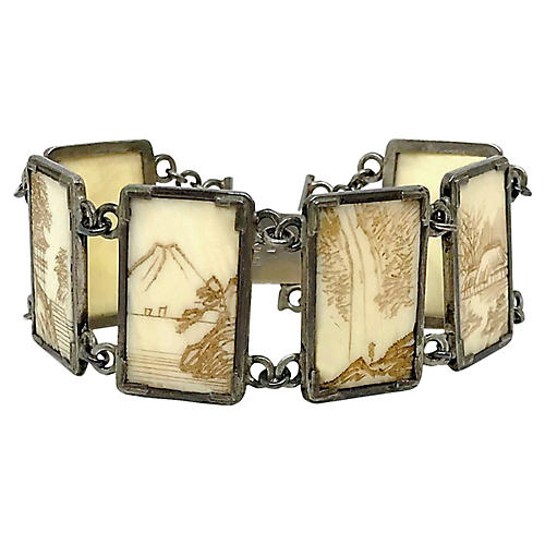 Sterling Silver & Etched Bone Bracelet