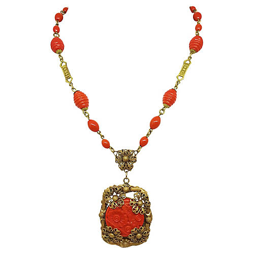 Czech Coral Glass Necklace, C. 1920
