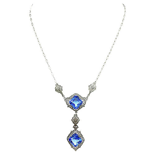 1920s Chromium Filigree Pendant Necklace