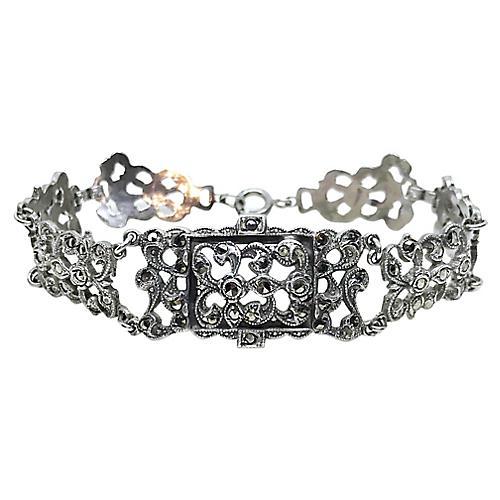 1920s Sterling & Marcasite Bracelet