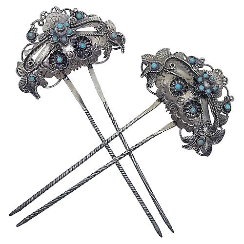 Silver-Plated Turquoise Hair Combs, Pair