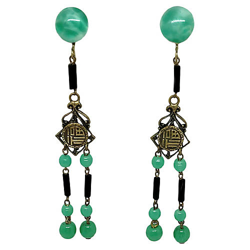 1920s Peking Glass Dangling Earrings