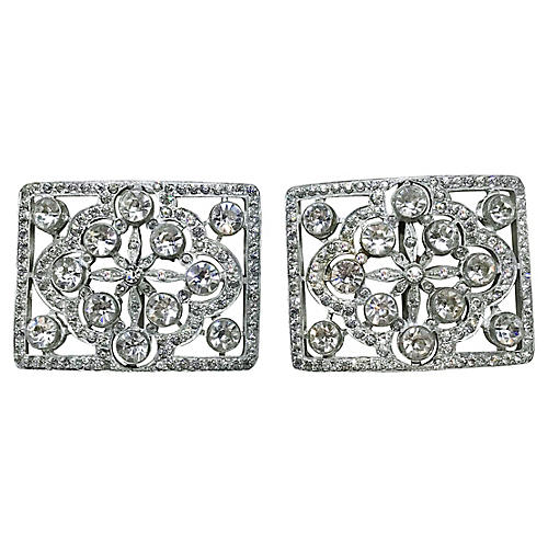 1920s Faceted Glass Shoe Buckles