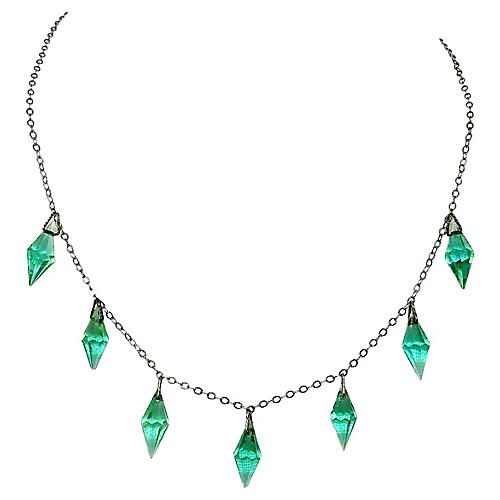 1920s Sterling Glass Drop Necklace