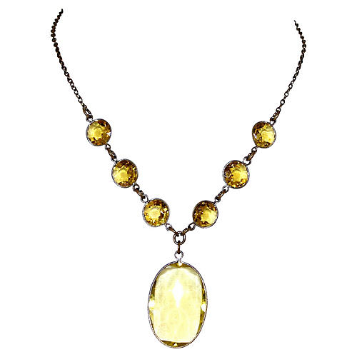 Czech Faceted Glass Pendant Necklace