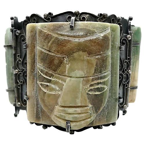 1930s Mexican Green Onyx Mask Bracelet
