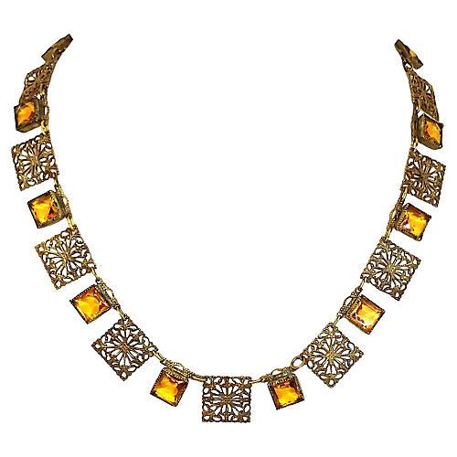 1920s Czech Filigree Link Necklace