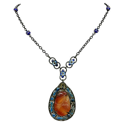 Chinese Sterling Carnelian Necklace