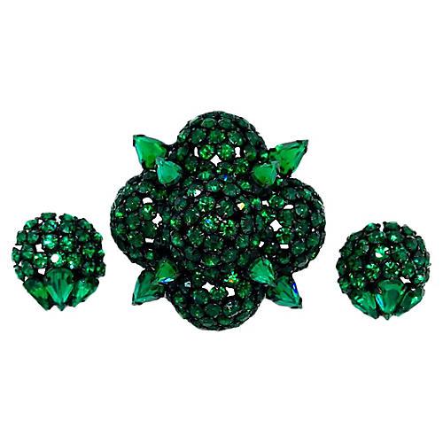 Warner Emerald Glass Brooch & Earrings