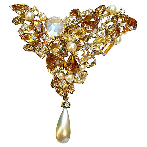 Schreiner Faceted Glass Brooch