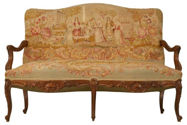 Louis XV-Style Needlepoint Settee