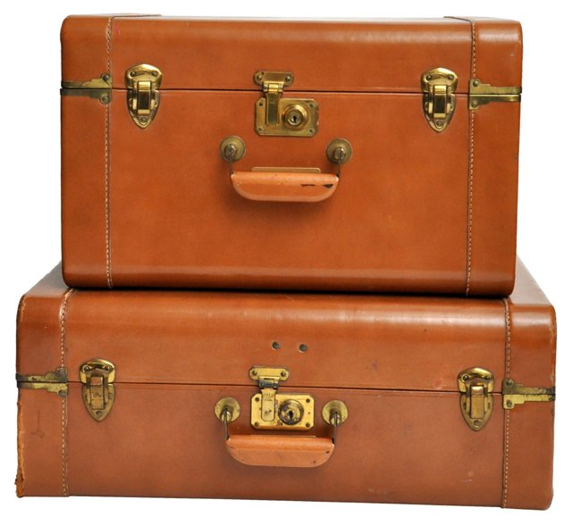 Leather Suitcases, Pair