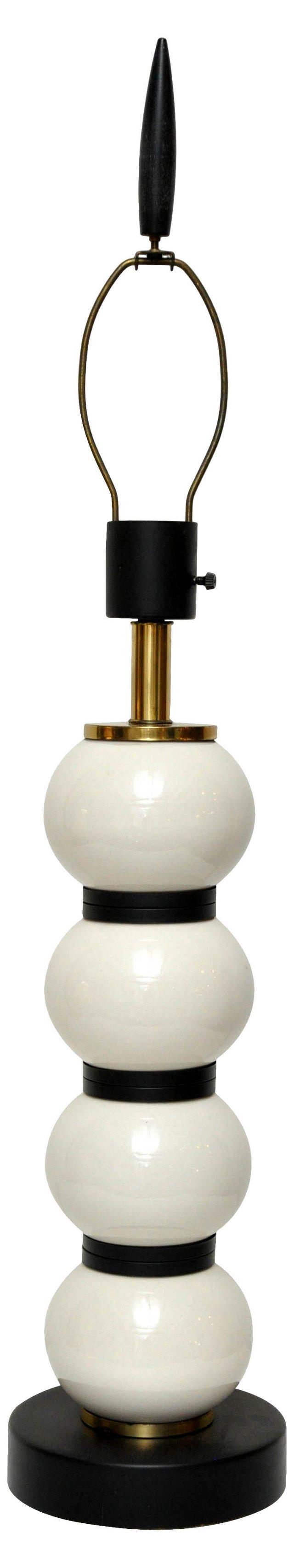 Midcentury Black & White Lamp