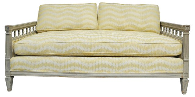 Settee w/ Yellow-Patterned Upholstery