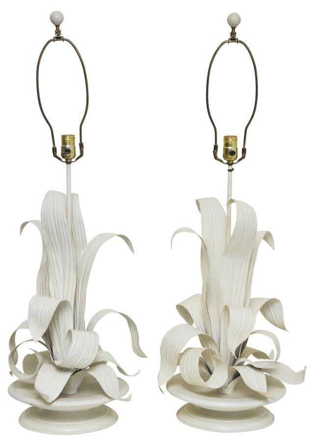 Italian Metal Leaf Lamps, Pair