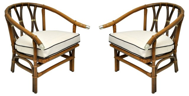 Asian-Inspired Chairs, Pair