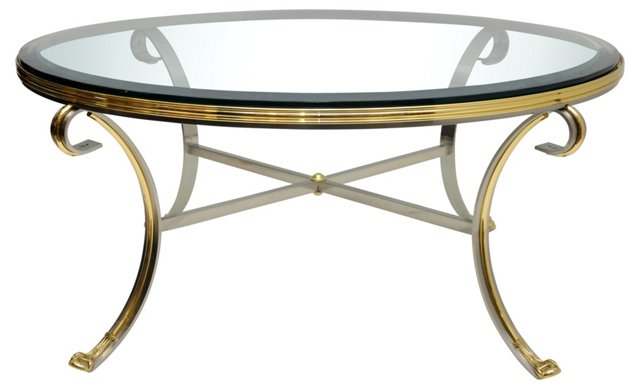 Brass &  Brushed Nickel Coffee Table