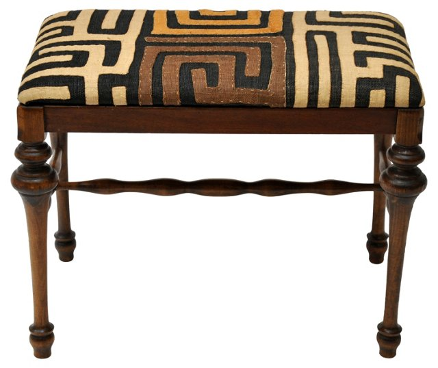 Stool w/ Kuba  Cloth