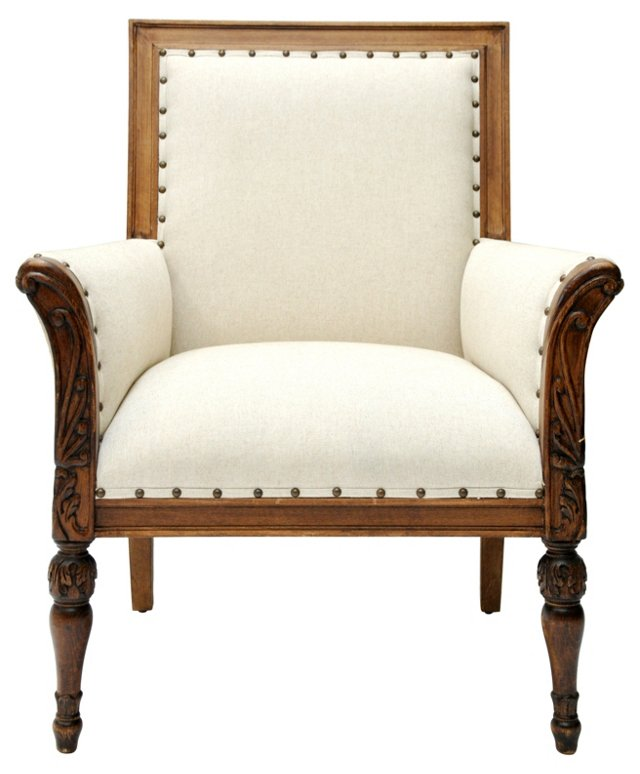 Carved Armchair w/ Burlap & Linen