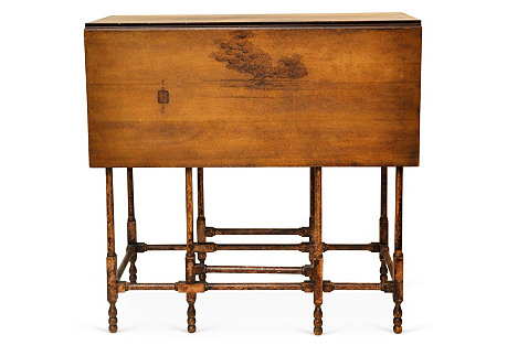 Chinese Hand-Painted Drop-Leaf Table