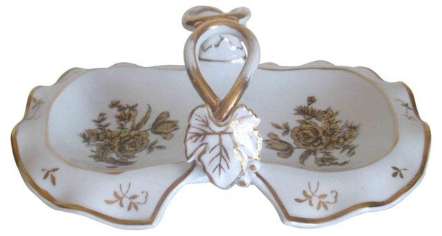 Gold & White Porcelain Dish