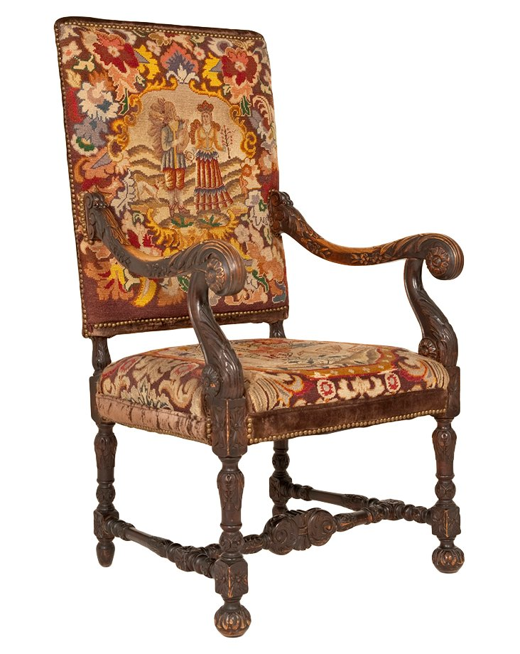 19th-C. French Tapestry Fauteuil