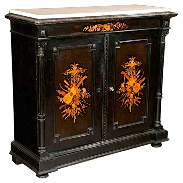 19th-C. French Black Lacquered Cabinet
