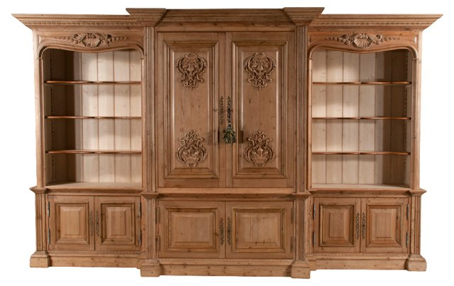 English Pine Breakfront & Bookcase