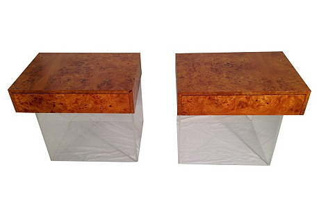 Burlwood & Lucite Nightstands, Pair
